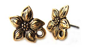 TierraCast Pewter Antique Gold Plated Star Jasmine Earring Posts x1pr