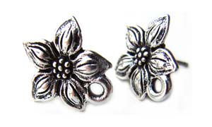 TierraCast Pewter Antique Silver Plated Star Jasmine Earring Posts x1pr