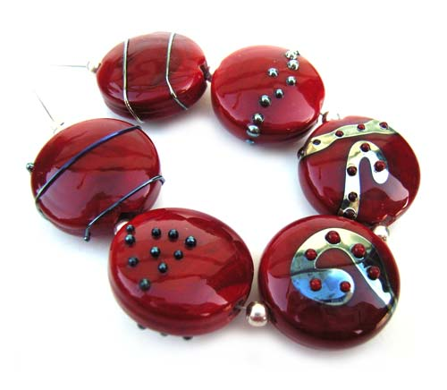 Rheais 22x8mm Buttons Ian Williams Artisan Glass Lampwork Beads
