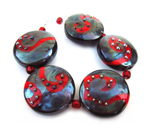 Scarlett Pewter 22x8mm Buttons - Ian Williams Artisan Glass Lampwork Beads