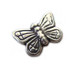 Thai Karen Hill Tribe Silver - 15.5x11mm Butterfly Bead x1