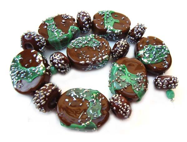 Choco Mint - Ian Williams Artisan Glass Lampwork Beads
