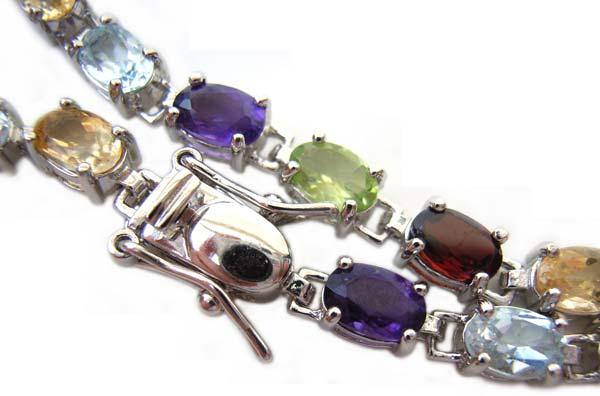 """Sterling Silver Bracelet CZ Multi-Colour Cubic Zirconia 8"""" - 21cm"""