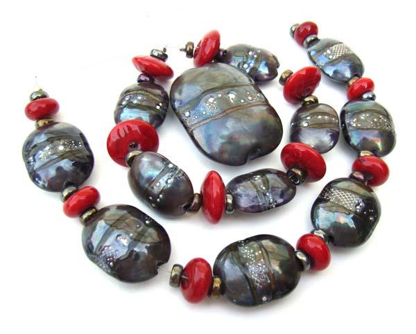 Pewter Scarabs Set Artisan Glass Lampwork Beads - Ian Williams