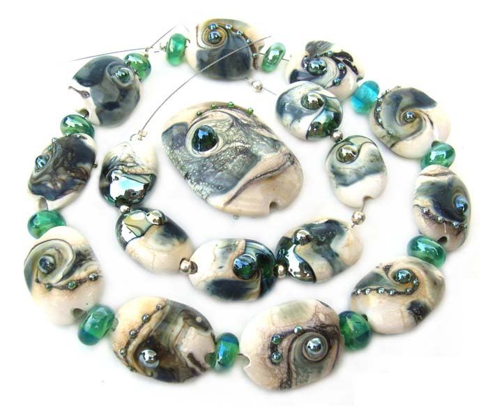 THALASSA - Sea Scarabs - Ian Williams Artisan Glass Lampwork Beads