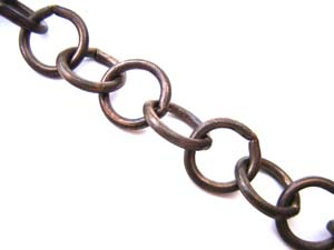 Vintaj Natural Brass 10mm Round Link Chain (open link) per half foot