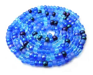 Czech Seed Beads 6/0 Blue Tones 1 mini Hank