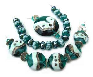 Amazon Queen - Ian Williams Artisan Glass Lampwork Beads with Focal Pendant