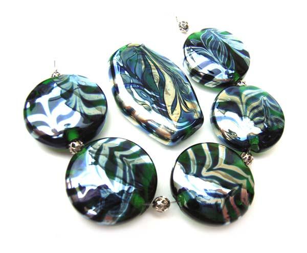 Silvered Emerald Feathers - Ian Williams Artisan Glass Lampwork Beads