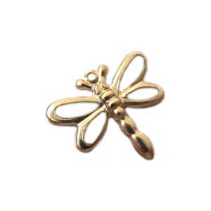 Gold Filled Charms 14x12.7mm Stamped Dragonfly Charm x1