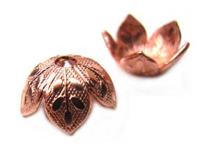 Copper (Pure 100%) 8mm Embossed Leaf Bead Cap x2pc