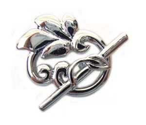 Ornate Scroll Leaf Clasp - Platinum Plated Toggle x1