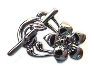 Frangipani Flower Clasp - Gunmetal Black Toggle x1