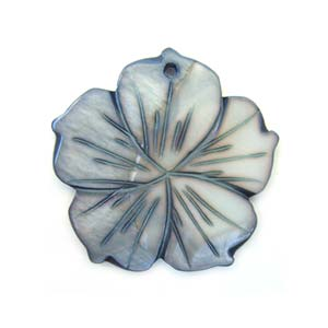 Carved Flower Shell Pendant 40mm - Silver Black