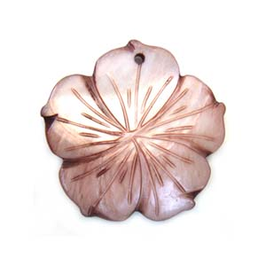 Carved Flower Shell Pendant 40mm - Dusk Rose