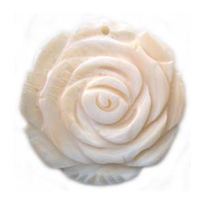 Carved Rose Blossom Flower Shell Pendant 45mm - White