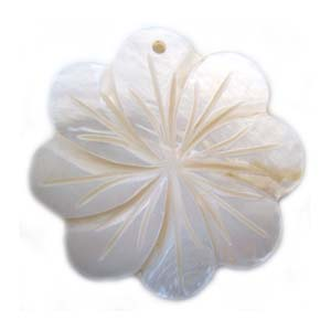 Carved Plum Blossom Flower Shell Pendant 44mm - White
