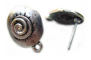 Spiral Design Ornate Earring Post Studs Earposts Antique Silver x1pr