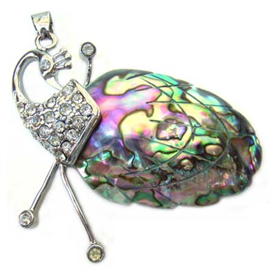 Paua Shell Pendant 50x37mm - Peacock