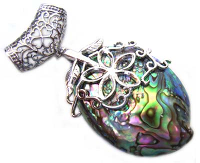 Paua Shell Pendant 78mm - Filigree Flower Slider Bail