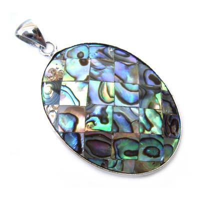 Paua Shell Pendant 53x31mm - Oval Mosaic with Bail