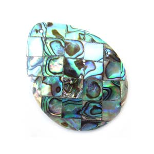 Paua Shell Pendant 40x30mm - Tear Drop Mosaic