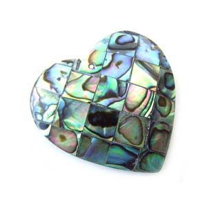 Paua Shell Pendant 35x35mm - Heart Mosaic