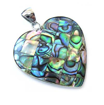 Paua Shell Pendant 47mm - Heart Mosaic with Bail