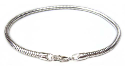 "Sterling Silver Bracelet 3mm Round Snake Chain with Balloon Clasp 7.5"" - 19.7cm"