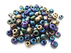 Glass Seed Beads 6/0 - 4mm Iris Mix 50g