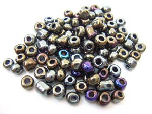 Glass Seed Beads 6/0 - 4mm Iris Bronze 50g