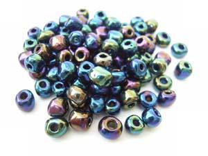 Glass Seed Beads 6/0 - 4mm Iris Blue 50g