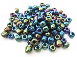 Glass Seed Beads 6/0 - 4mm Iris Green 50g