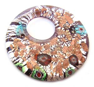Glass Lampwork 53x53mm Round Donut Pendant Amethyst x1