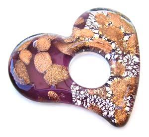 Glass Lampwork 59x53mm Heart Donut Pendant Amethyst x1