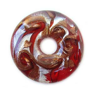 Glass Lampwork 42.5x8.6mm Donut Pendant Red x1