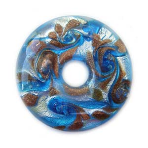 Glass Lampwork 42.5x8.6mm Donut Pendant Turquoise Blue x1