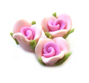 Handmade Sculpted Fimo Rose & Leaf Beads - Pink x2