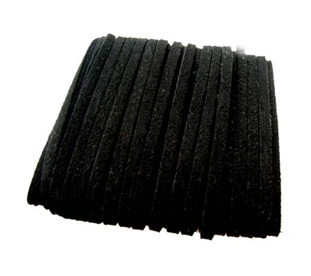 Faux Micro Suede Flat Cord 3mm - Black per metre