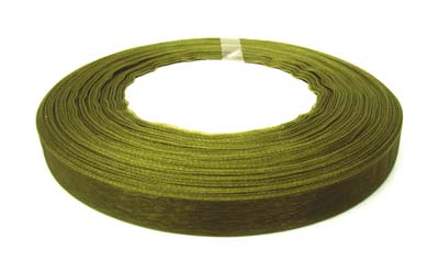 Organza Ribbon 12mm - Olive Green 50yd roll - 45m