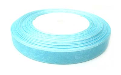 Organza Ribbon 12mm - Aqua 50yd roll - 45m