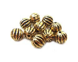 Antiqued Gold Tone 5.5mm Round Ribbed Beads x10