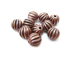 Antiqued Copper Tone 5.5mm Round Ribbed Beads x10