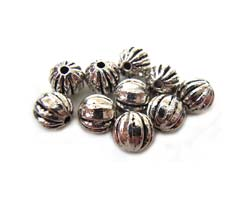 Antiqued Silver Tone 5.5mm Round Ribbed Beads x10