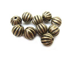 Antiqued Bronze 5.5mm Round Ribbed Beads x10