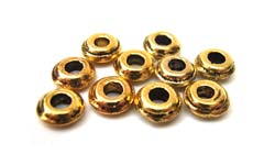 Antiqued Gold Tone 6mm Disk/Rondelle Beads x10