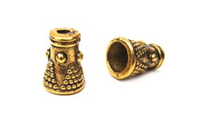 Bali Style 7.7x4.8mm Bead Cap Cones Antique Gold Tone x10