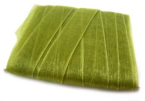 Organza Ribbon 6mm ~ Olive Green 5m