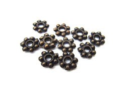 Antiqued Bronze Base Metal - Daisy Spacer Beads 6mm x100
