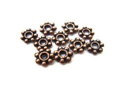 Antiqued Copper Base Metal - Daisy Spacer Beads 6mm x100